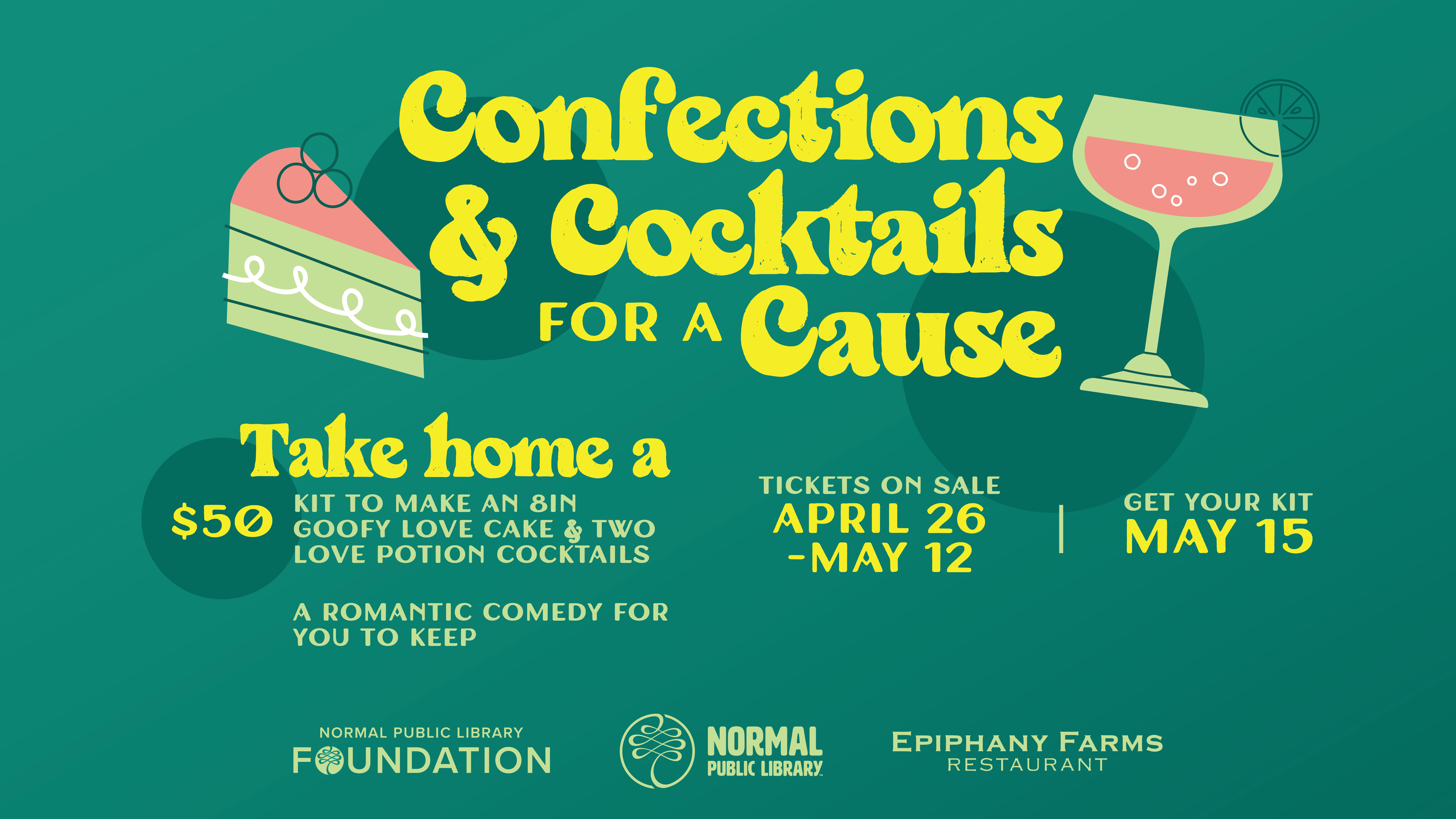 Confections & Cocktails for a Cause graphic